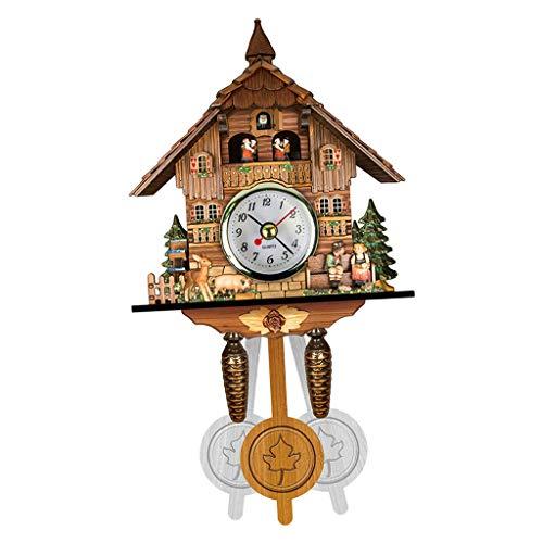 non_brand Reloj de Pared de Cuco de Madera Vintage Decoración de Dibujos Animados Columpio Casero