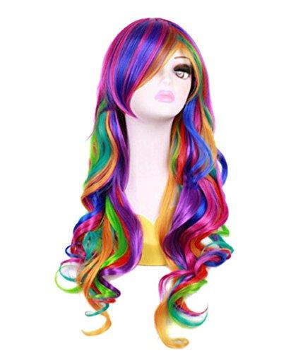 27.56'' Long Women Rainbow Wavy Cosplay Heat...
