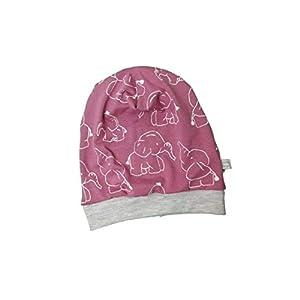 Baby Kinder Beanie Mütze Mädchen Elefanten Altrosa KU 34-54 cm handmade Puschel-Design
