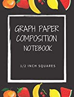 """Composition notebook 1/2 inch squares: 1/2 inch graph paper notebook, double-sided, 100 sheets, 8.5 """"x 11"""" binding."""