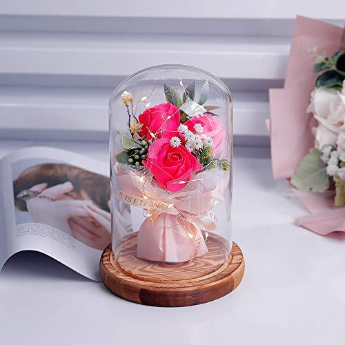 shirylzee Encantada Rosa La Bella y La Bestia Rosas Artificiales con luz LED Base de Madera Regalo para día de San Valentín Día de la Madre de cumpleaños de Boda de Aniversario