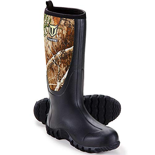 TIDEWE Rubber Boots for Men Multi-Season, Waterproof Muck Rain Boots with Steel Shank, 6mm Neoprene Durable Rubber Outdoor Hunting Boots Realtree Edge Camo Size 10 (Camo)