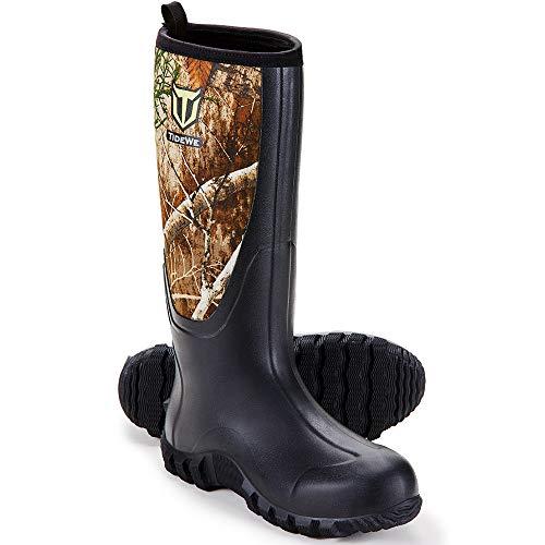 TIDEWE Rubber Boots for Men Multi-Season, Waterproof Muck Rain Boots with Steel Shank, 6mm Neoprene...