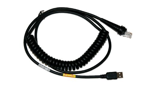 Honeywell CBL-500-500-C00 USB Coiled Cable, Type A, 5V Host Power, 5 m/16.4 ft. Length, Black