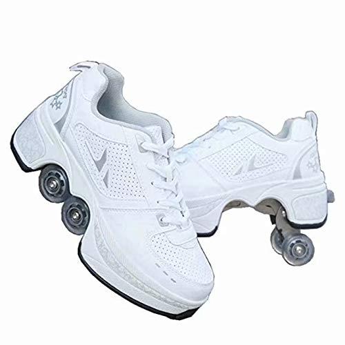 Rollschuhe für Damen, Quad Roller Skates für Kinder, Mädchen Schuhe mit Rollen, Unisex Schuhe mit Rollen, Roller Erwachsene Skates, Outdoor Sport Technologie Skateboards, weiße Skates, Kick Roller, 38