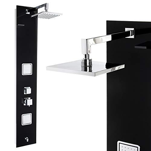 Premium Duschpaneel 150cm Schwarzes Glas Multi-Funktionen Regendusche mit oder ohne Thermostat Duschsystem, mit Thermostat