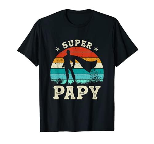 Homme Fète des Papy Meilleur Grand Père Humour Retro Super Papy T-Shirt