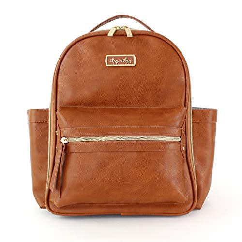 Itzy Ritzy Mini Diaper Bag Backpack - Chic Mini Diaper Bag Backpack with Vegan Leather Changing Pad, 8 Total Pockets (4 Internal and 4 External), Grab-Top Handle and Rubber Feet, Cognac