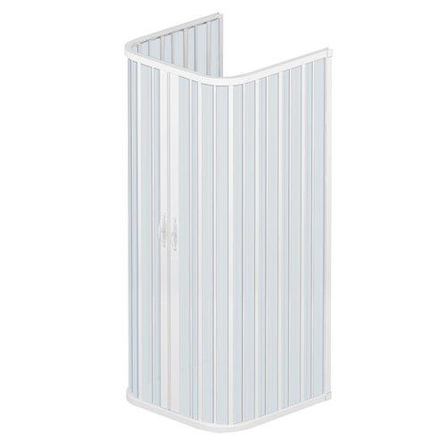 Rollplast BSAT2CONCC2808080 Box Doccia a Soffietto, Dim. 80 x 80 x 80 x H 185 cm, in PVC, a Tre Lati, Due Ante, con Apertura Centrale, Bianco