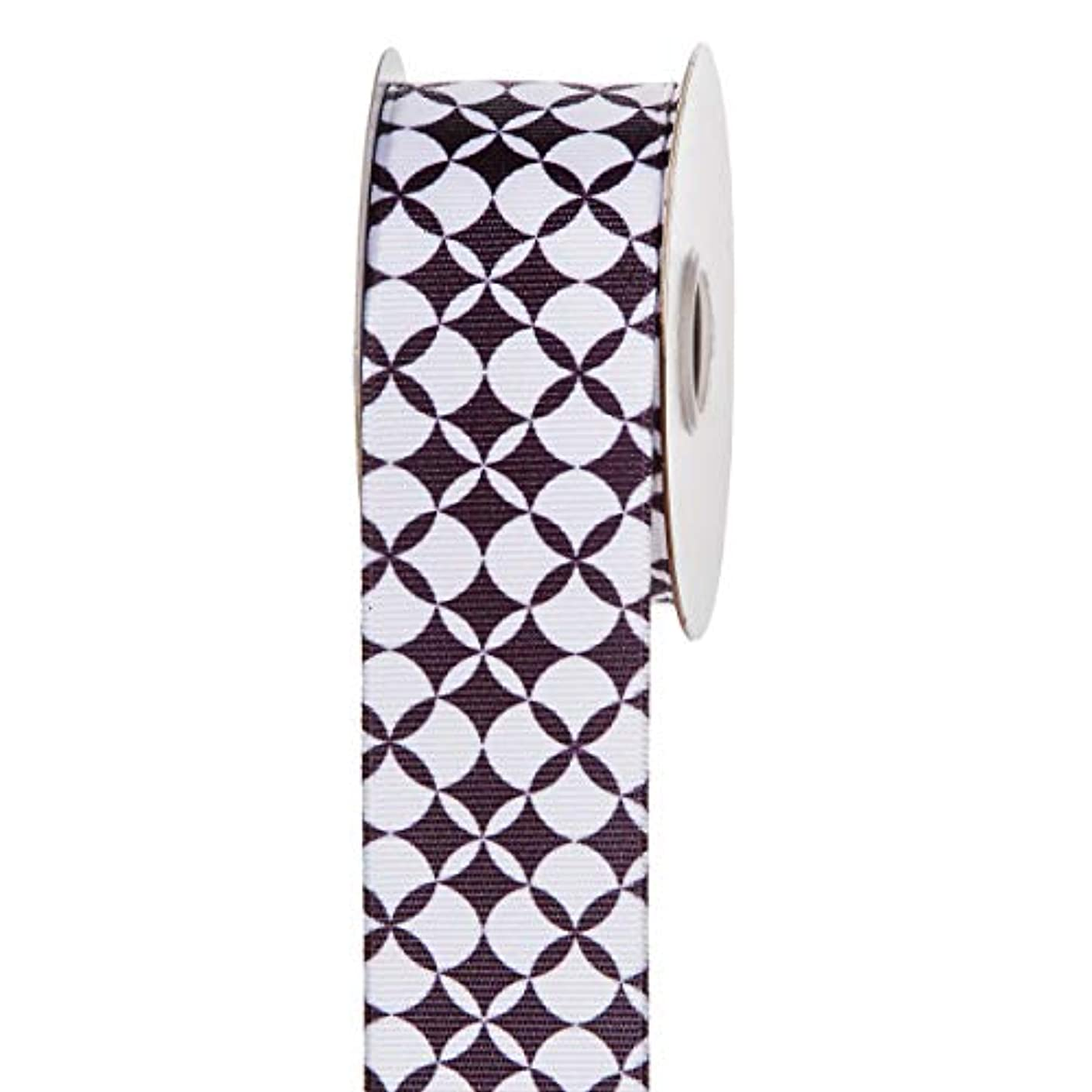 Darice Black & White Retro Flower Patterned Ribbon: 1-1/2 inch x 10 yards