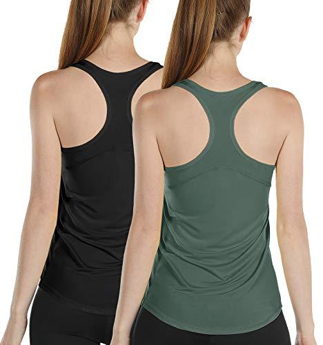 icyzone Damen Sport Yoga Tank Top Ringerrücken Gym Fitness Funktions Shirt 2er Pack (XL, Black/Smoke Pine)