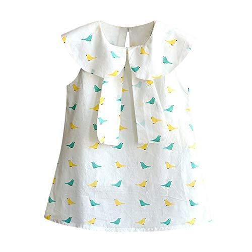 Luckycat Vestido de niña, Vestido para Bebés Ropa Impresa de Camisa y del Vestido del Pajarito Muchacha Encantadora Ropa de Bebe niña Verano 2019