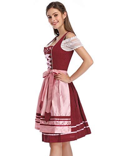 Clearlove Women's Oktoberfest Costume Dirndl Dress Set 3 Pieces(L, Red Heart)