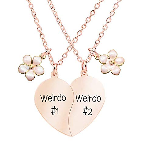 MJartoria Best Friend Necklaces BFF Necklace for 2 Friendship Valentines Day Gift Split Heart Necklace Weirdo 1 Weirdo 2 Best Friends Forever Pendant Set (S-Rose Gold-weirdo #1-weirdo #2-flower)