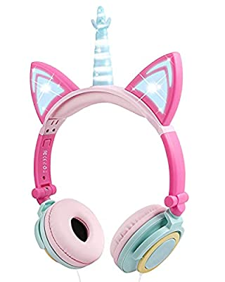 Unicorn Kids Headphones, Glowing Cat Ear Headphones with 85db Volume Limit, Foldable Headphones for Kids Girls (Multicolor) by Esonstyle