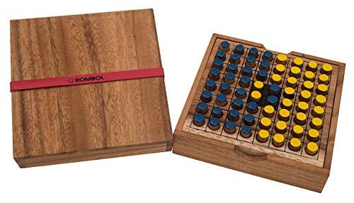 ROMBOL Reversi - Interessantes Strategiespiel für 2 Personen inkl. praktischem Verschlussband, Farbe:gelb/blau