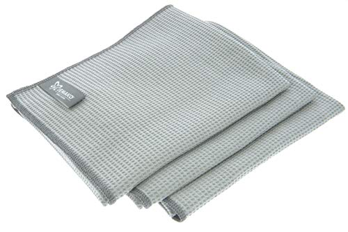 Jemako Trockentuch GRAU 45 x 60 cm - 3er Set - Saugstarke Microfasertücher - Zur Anwendung in der Küche, im Bad, Haushalt, Auto - inkl. Sinland Wäschenetz