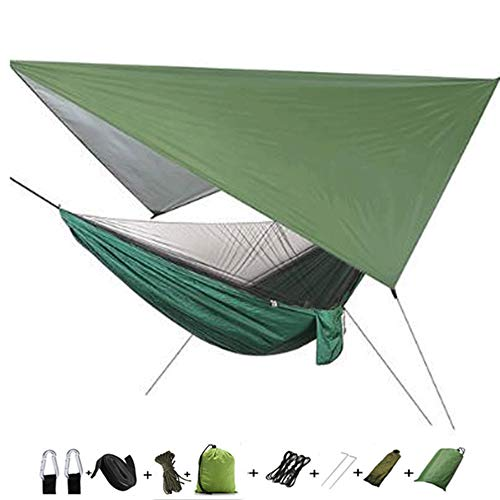 chen Camping Hammock with Tent Tarp and Mosquito Net, Portable Single Double Parachute Hammock Set outside waterproof shade for Camping, Backpacking, Hiking