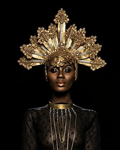 Mujer negra africana Maquillaje de labios dorados Modelo de niña Arte corporal...