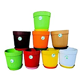 Best Plastic Plant Flower Pot with Tray For Home Garden