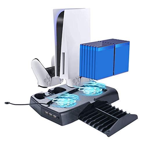 Thlevel Supporto Verticale con Ventola di Raffreddamento per PS5, Stazione di Ricarica per Dual Controller con Indicatori LED e 14 Vassoi per Dischi da Gioco