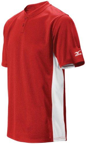 Mizuno Herren 2Farbe Block Short Sleeve Baseball Jersey, Herren, 350221.1010.04.S, rot, S