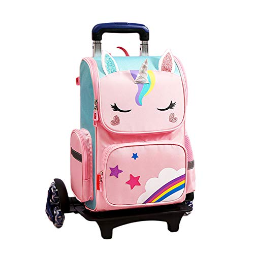 LHY EQUIPMENT Girl's Trolley Backpack Can Climb Stairs Trolley Rolling Bag with Reflective Strip Large Capacity Waterproof Detachable Wheeled Backpack for Kids,Pink
