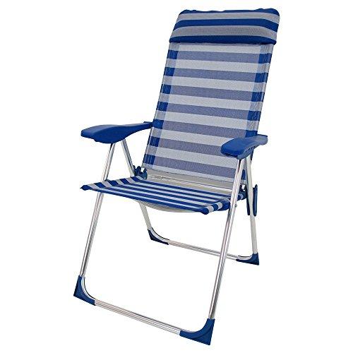 Sillón plegable con 5 posiciones de playa o campin azul de aluminio Garden - Lola Derek