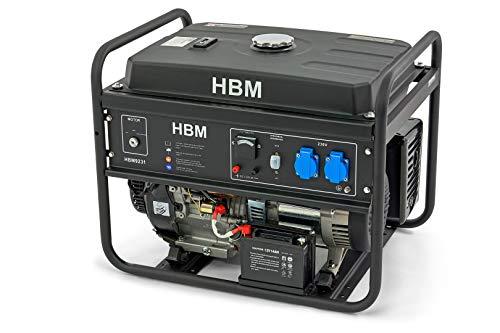 13PS Benzin Stromerzeuger 5500w 2 x 230 Volt, 1 x 12 Volt, 25L Tank - nur 68dB - Benzin Generator, Überlastschalter, Ölmangelsicherung Generator (Benzin 5500w)