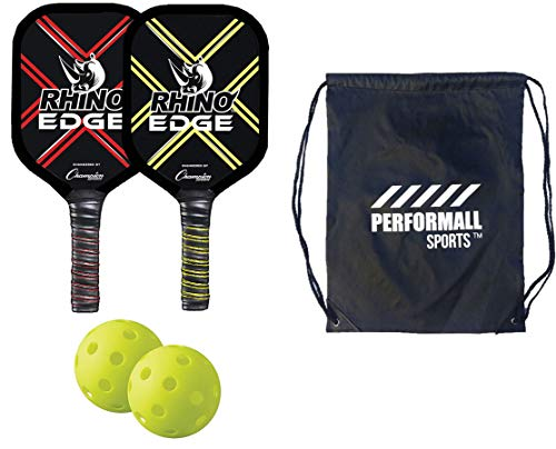 Champion Sports Rhino Edge Wooden Pickleball Paddle Set 2 Paddle Ball Rackets and 2 Pickleballs USAPA Approved Bundle with 1 Performall Sports Drawstring Bag