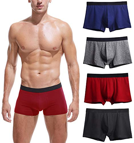 Robesbon 4 Pack Mens Underwear Cotton Spandex Stretch Low Rise Pouch Boxer Briefs No Fly Large