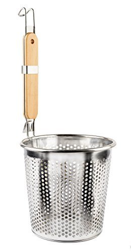 """Stainless Steel Food Strainer Colander With Wooden Hook Handle – As Noodle Pasta Strainer Steaming Basket - Best For Rinsing Pasta, Noodles,Fruits,ParBoiling-Fits Most Pots,Easy To Clean – Durable Solid Steel Frame -6.3"""" Top Diameter,4.7"""" Bottom"""