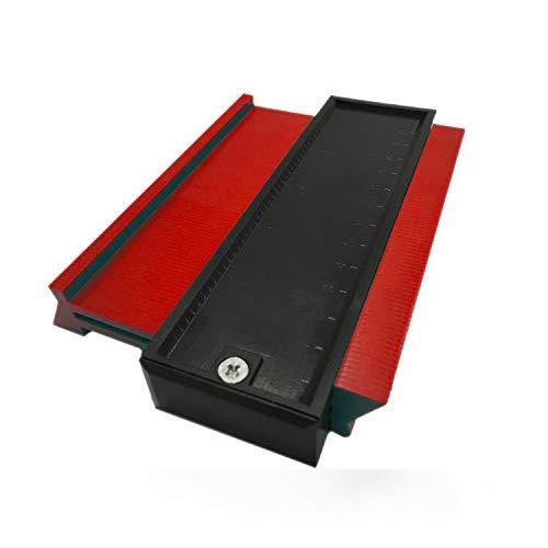 Medidor de Contorno, Yisscen herramienta de medición de perfil de duplicadora de medidor de plástico - Plantilla de arco de plantilla de 5 pulgadas Conformado de borde de embaldosado laminado (Rojo)