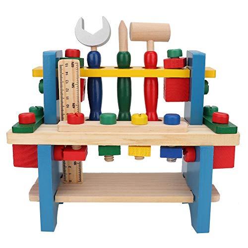 Tnfeeon Kinder Holz Simulieren Werkbank, Kinder Pretend Play-Set Werkzeug Tisch Simulation DIY Spielzeug Set Puzzle Spiel Bildung