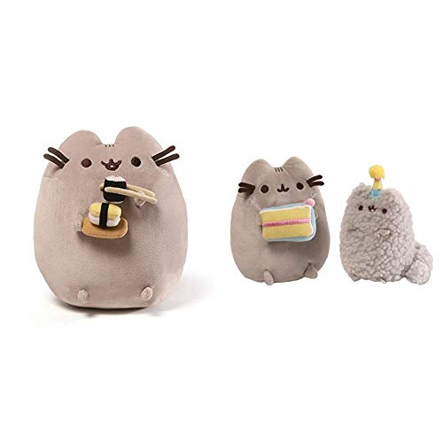 "GUND Pusheen Snackables Sushi Chopsticks Plush Stuffed Animal Cat, 9.5"" & Pusheen and Stormy Birthday Plush Stuffed Animals Collector, Gray, Set of 2"