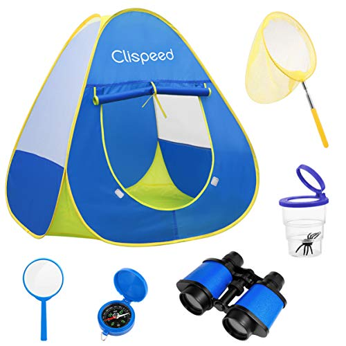 BESPORTBLE 6PCS Kids Play Tent with Butterfly Net Magnifying Glass Compass Outdoor Explorer Kit Pop Up Play Tent Kids Children