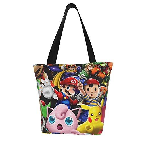 Super Smash Bros Kirby Mario Women Totes Carry Bags Big Capacity Shoulder Handbags Messenger Backpacks Portable Webbing is Strong and Durable