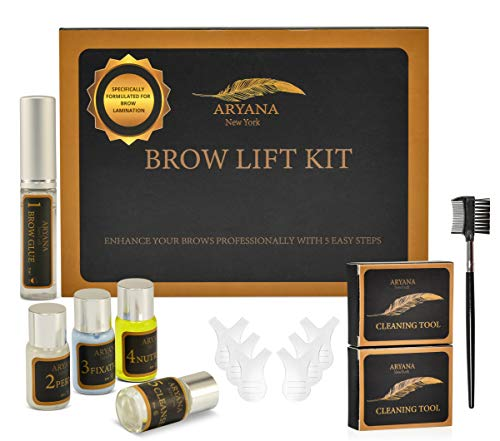 ARYANA Eyebrow Lamination Kit | Brow Lamination Kit Professional | Eyebrow Perm | Brow Lamination For Fuller Feathered Eyebrows | Eyebrow Brush and Y comb Included