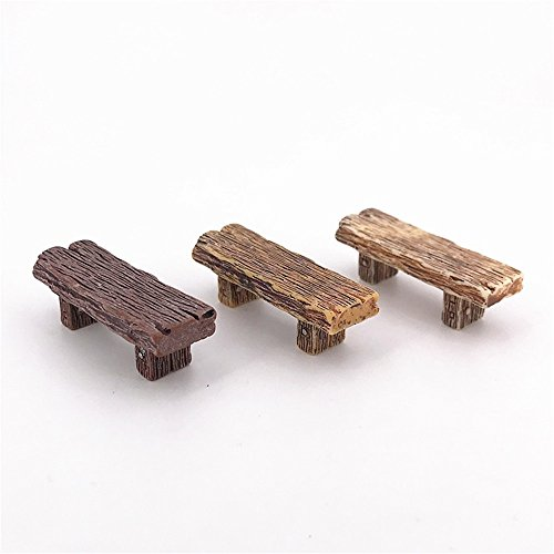 COOLTOP 3pcs Wooden Benches Miniature Ornaments Fairy Garden Bonsai Decorations Dollhouse Accessories