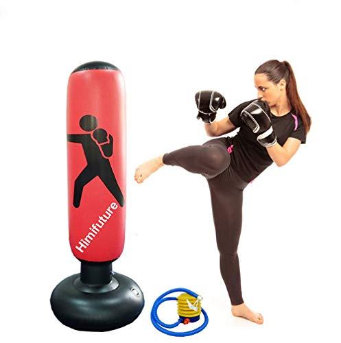 Himifuture 160 cm Boxsack, aufblasbarer freistehender Fitness-Zielständer, Turmsack, freistehender Tumbler Säulensandsack mit kostenloser Fuß-Luftpumpe, weinrot