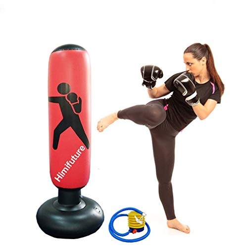 Himifuture 160cm Punch Bag, Inflatable Free-Standing Fitness Target Stand Tower Bag, Free Standing Tumbler Column Sandbag with a Free Foot Air Pump, Wine Red