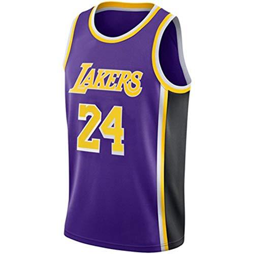 TINKOU Uniforme de Baloncesto Retro NBA Lakers 24# Camisetas de Baloncesto para Hombre Chaleco Transpirable Camiseta sin Mangas con Bordado clásico,Púrpura,XXL