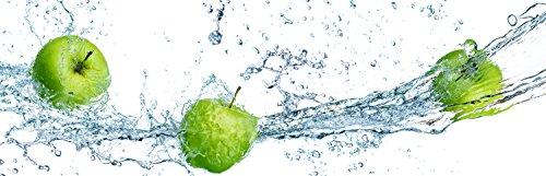 wandmotiv24 Küchenrückwand grüner Apfel 160 x 50cm (B x H) - Acrylglas 4mm Nischenrückwand Spritzschutz Fliesenspiegel-Ersatz M0736