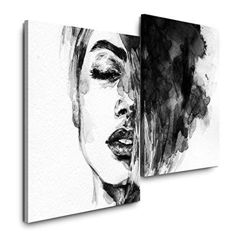 Sinus Art Frauen Gesicht 120x80cm 2 Kunstdrucke je 70x60cm Kunstdruck modern Wandbilder XXL Wanddekoration Design Wand Bild