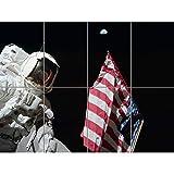 Moon Apollo 17 Astronaut Earth Flag Moon Landing Photo XL Giant Panel Poster (8 Sections) Luna Bandera Luna Fotograf�a P�ster