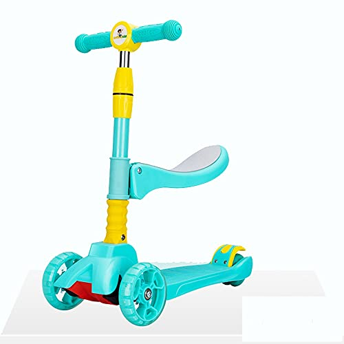 Jgrace Scooter Infantil 3 En 1, Scooter De 3 Ruedas con Asiento Manillar En Forma De T Y Sin Ruedas Eléctricas Que Emiten Luz Adecuado para Niños Y Niñas De 2 A 6 Años,Azul