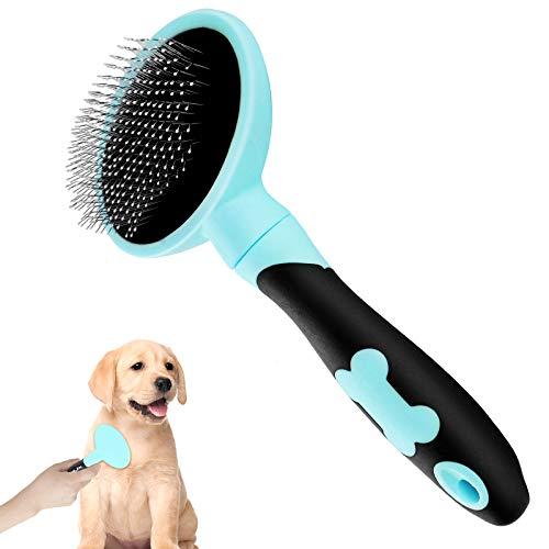 Makerfire Cepillo para Perros de Pelo Largo Pelo Corto, Cepillos para Gatos, Flexible Slicker Brush for Mascota-Azul
