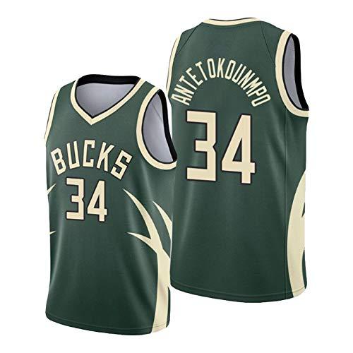CNMDG Milwaukee Bucks 34# Giannis Antetokounmpo grünes Basketball-Trikot für Herren, 2021 New Season City Edition Trikots, Unisex Jugend T-Shirt Geschenk (S-XXL) L