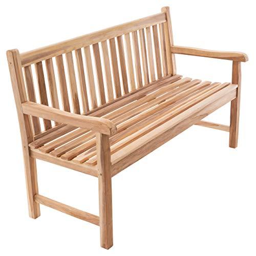 Divero 3-Sitzer Bank Holzbank Gartenbank Sitzbank 150 cm – zertifiziertes Teak-Holz unbehandelt hochwertig massiv – Reine Handarbeit – wetterfest (Teak Natur)
