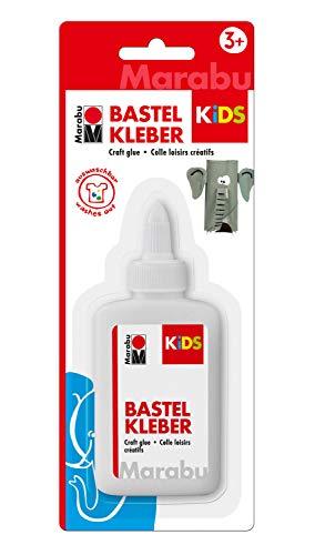 Marabu 0315005000002 - Kids Bastelkleber für Kinder, auf Wasserbasis, kindgerechter Kleber für alle gängigen Bastelarbeiten, Universalkleber, Flüssigkleber, auswaschbar, 100 ml
